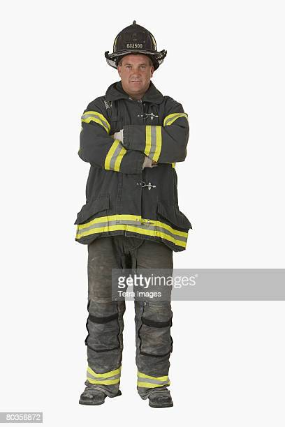 Male firefighter with arms crossed
