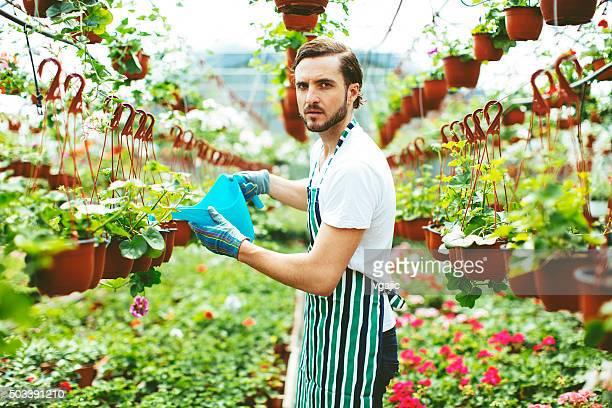 Männlich Florist Blumen gießen