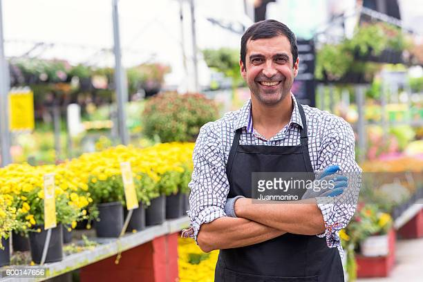 Male Florist working at a nursery