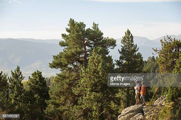 Male friends standing on rock