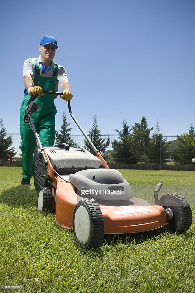 male gardener in overalls pushing lawn mower stock photo