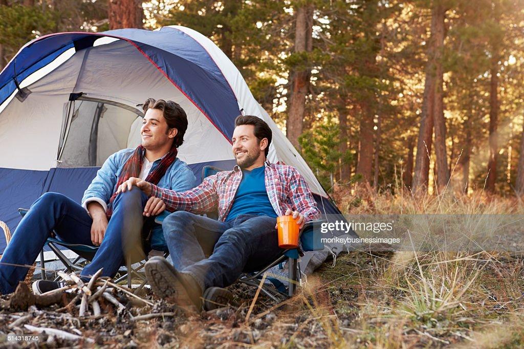 Gay men camping