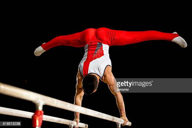 Male gymnast in sports hall