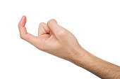Male hand beckoning isolated on white background. Man gesturing with one finger, come here symbol