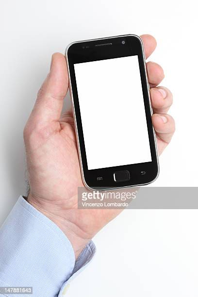 Male hand holding a smart phone