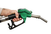 Male hand holding petrol pump isolated on white background