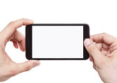 Taking photo with smart phone isolated on white background with clipping path for the screen
