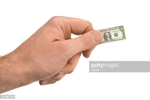 Male Hand Holding Tiny US Dollar Isolated on White