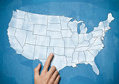 Male hand pointing on USA map / Blue board concept (Click for more)