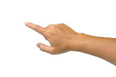 Male hand touching or pointing to something - isolated on white background with clipping path