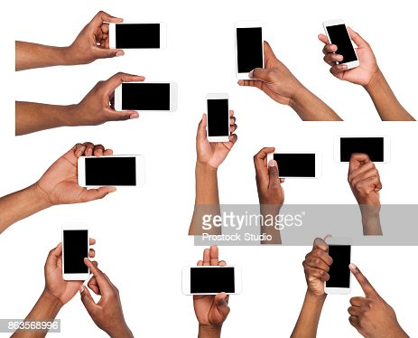 Male hands pointing, holding mobile phone : Stock Photo