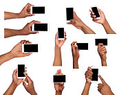 Set of black male hand touching mobile phone display and pointing with index finger on black screen, white isolated background. Communication concept