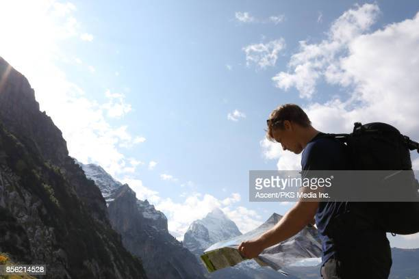 Male hiker studies map in high alpine, mountains