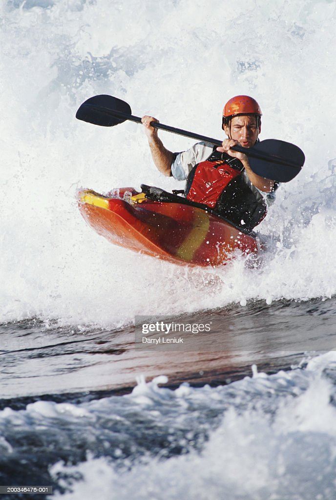 Male kayaker white-water kayaking in Skookumchuck Rapids : Stock Photo