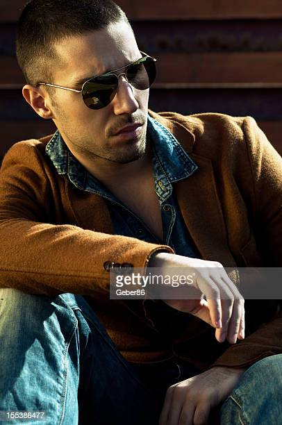 male model wearing sunglasses