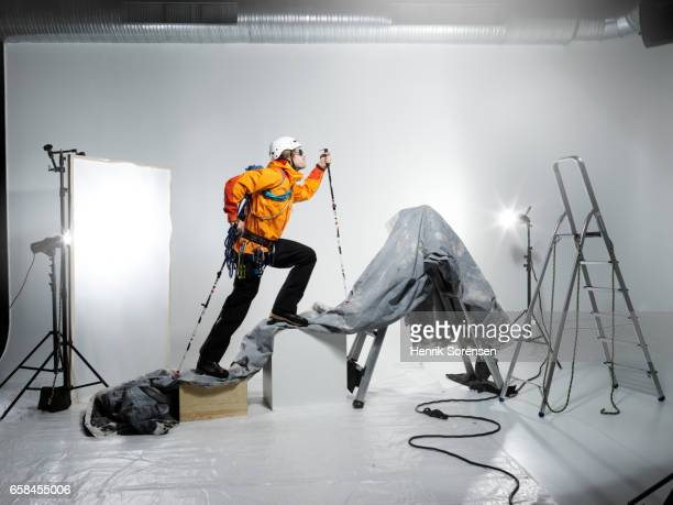 Male Mountaineer in a studio