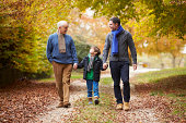 Male Multl Generation Family Walking Along Autumn Path Holding Hands Embracing Looking At Each Other Smiling Outdoor Family Caption