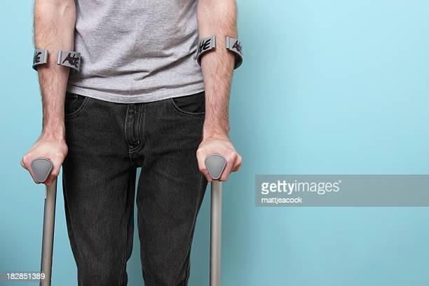 Male on crutches