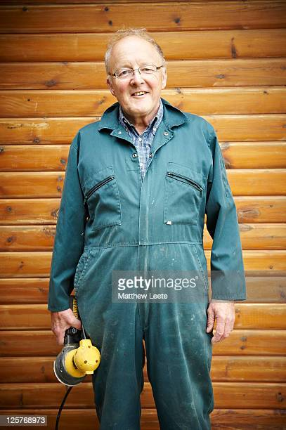 Male pensioner doing diy