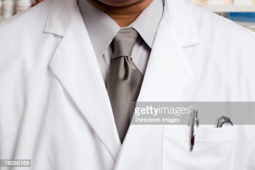 Male Pharmacist Detail Of White Coat And Tie Stock Photo | Getty ...