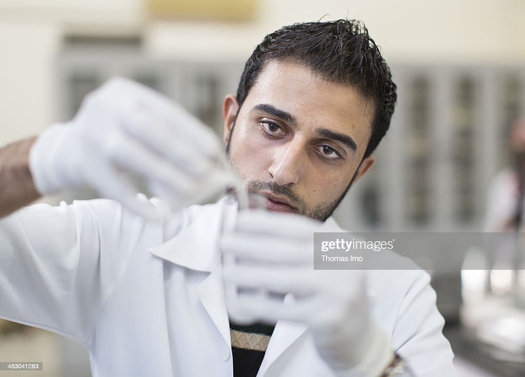 A male pharmacology student pictured conducting an experiment in a laboratory at the Al-Azhar University on November 06, 2013 in Gaza City, The Palestinian Territories.