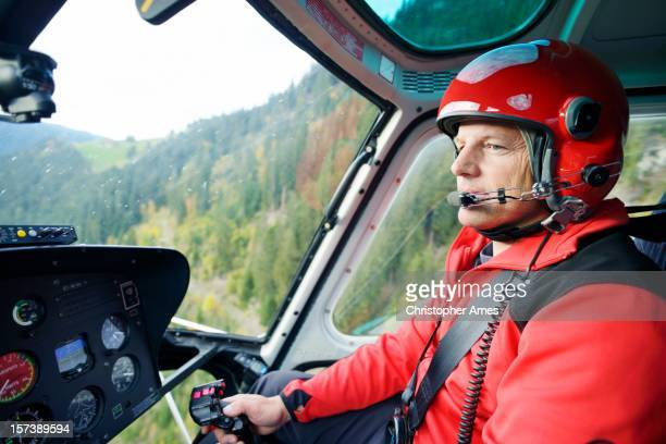 Male Pilot Flying Helicopter