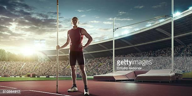 Male pole vaulting athlete
