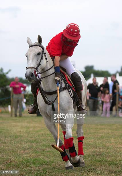 Male polo player riding a white horse