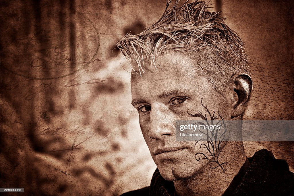 Male Portrait - Closeup - The Writing On The Wall : Stock Photo