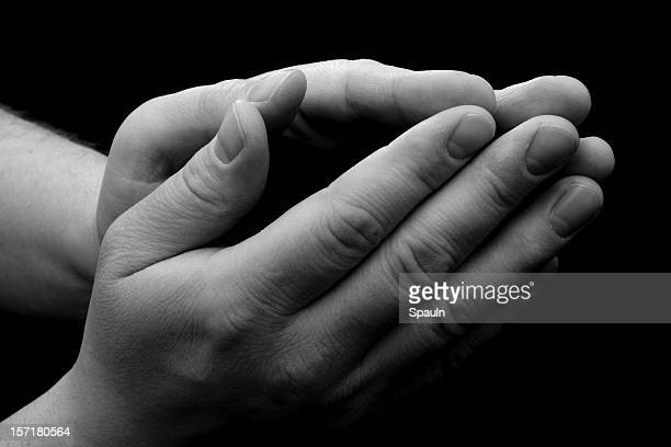 Male Praying Hands - Black and White