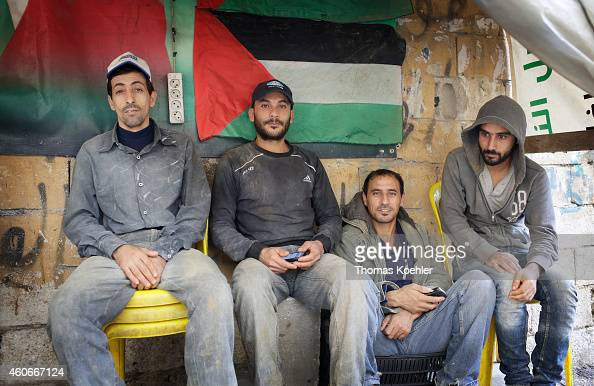 Male refugees at the Palestinian refugee camp Bourj elBarajneh on December 09 2014 in Beirut Lebanon United Nations Relief and Works Agency for...