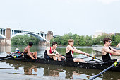 Male Rowing Team on the River