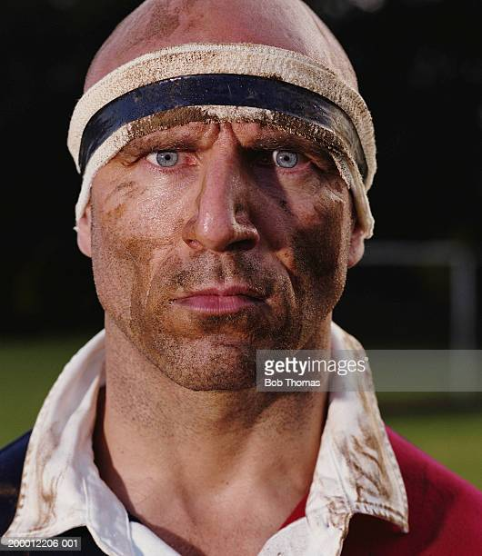 Male rugby player, portrait, close-up
