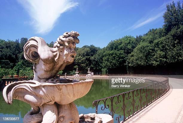 Male sculpture above fountain, Boboli Gardens, Florence, Italy
