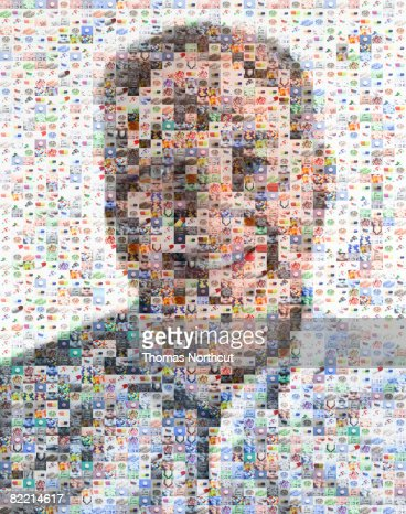 Male senior made out of pill imagery