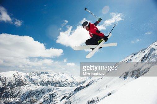 Male Skier Jumping Off Bansko Cornice