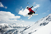 Male Skier Jumping Off Bansko Cornice