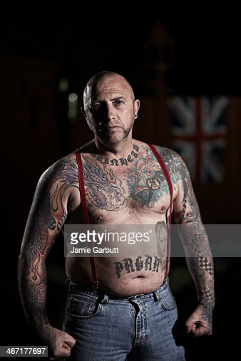 Male skinhead with no shirt on. : Stock Photo