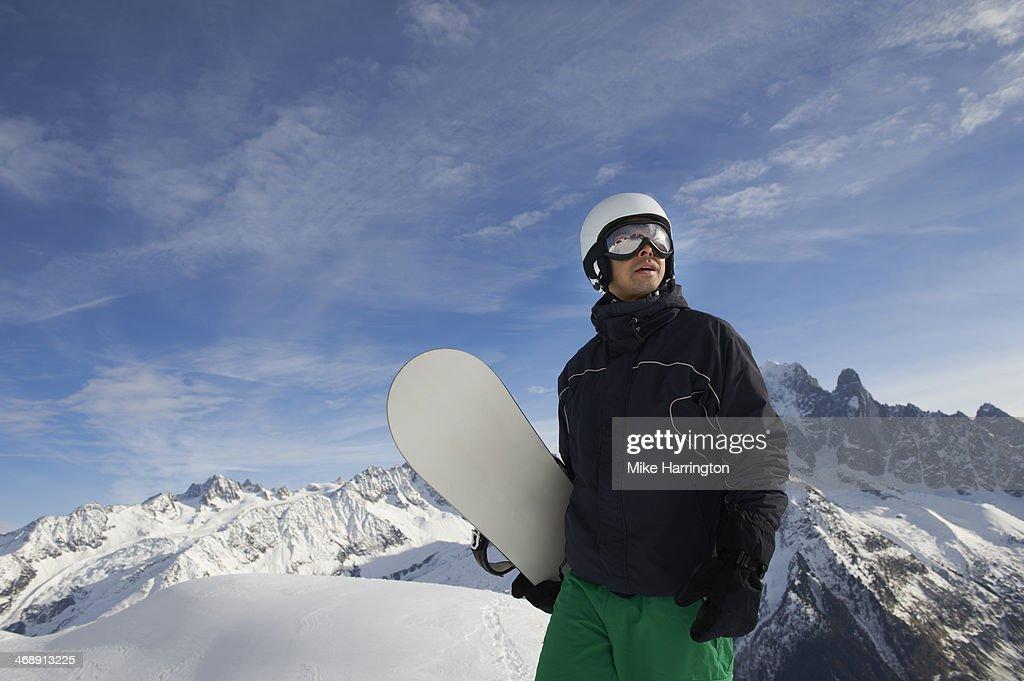 Male Snowboarder in Chamonix, Mont Blanc Resort