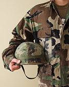Male soldier holding helmet