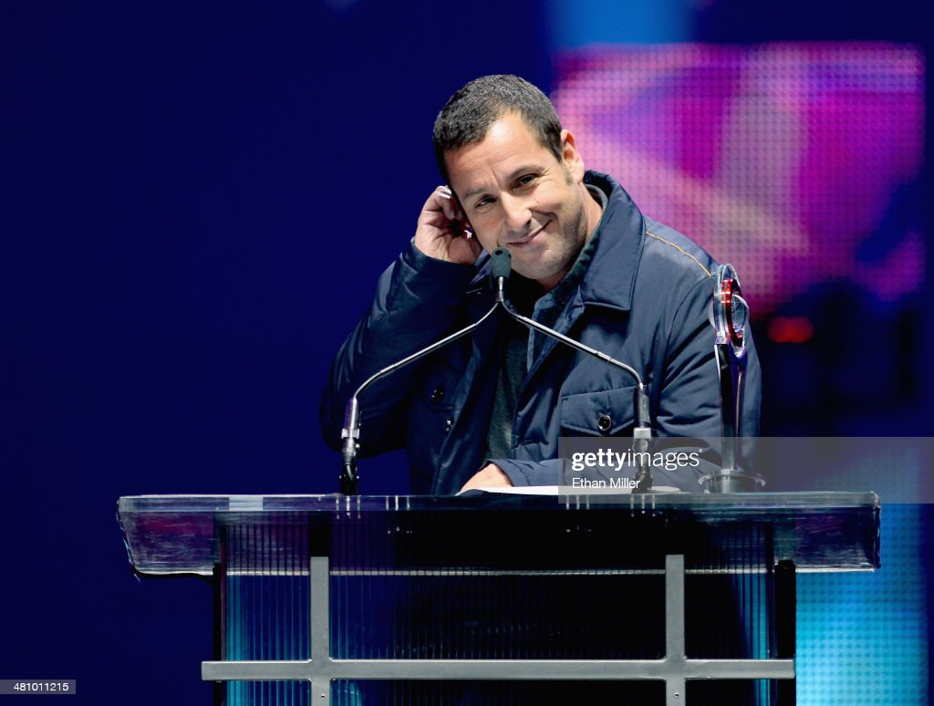 Male Star of the Year award winner <a gi-track='captionPersonalityLinkClicked' href=/galleries/search?phrase=Adam+Sandler&family=editorial&specificpeople=202205 ng-click='$event.stopPropagation()'>Adam Sandler</a> speaks onstage at The CinemaCon Big Screen Achievement Awards brought to you by The Coca-Cola Company during CinemaCon, the official convention of the National Association of Theatre Owners, at The Colosseum at Caesars Palace on March 27, 2014 in Las Vegas, Nevada.
