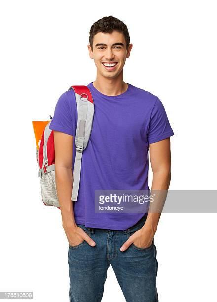 Maschio studente In piedi con le mani In tasche isolate