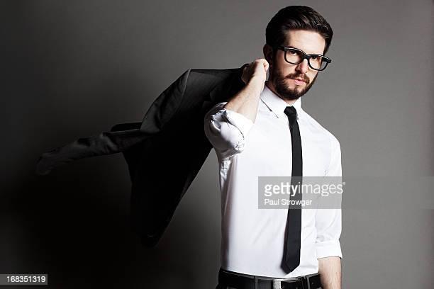 Male, Suit, Jacket Over Shoulder
