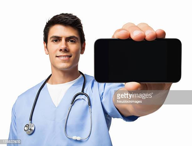 Male Surgeon Presenting Smart Phone - Isolated