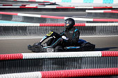 Male Swimmer of the Year 2014 Chad le Clos drives a gokart at Yas Marina Circuit in Abu Dhabi on February 28 2015 in Abu Dhabi United Arab Emirates