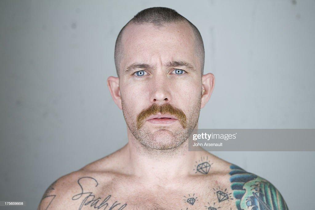 male, tattoos, portriat, gay, studio : Stock Photo