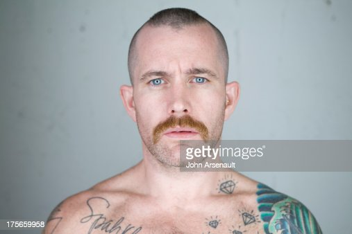male, tattoos, portriat, gay, studio : Stock Photo