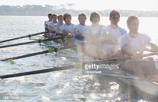 Male team in a race of canoe