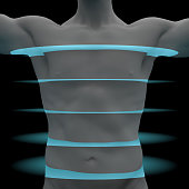 male torso is scanned by light layers. 3d rendering