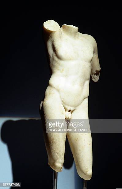 Male torso probably the god Apollo discovered in 2003 during construction of the Syntagma Square Metro station Athens Greece Greek civilisation...